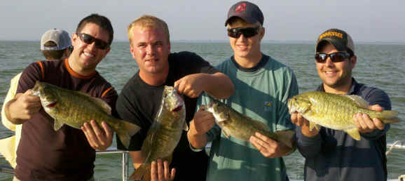 Lake Erie smallmouth bass charter fishing