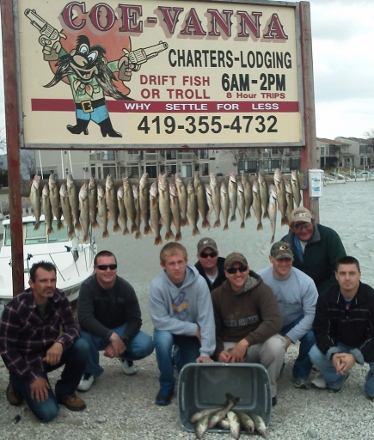 Walleye fishing on Lake Erie charter boats